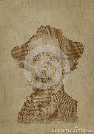 Charles Dickens Caricature sepia engraving style Editorial Stock Image