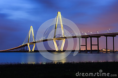 Charleston Ravenel Bridge Blue Hour Sc Stock Photo Image