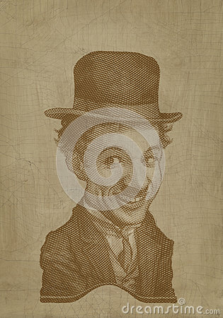 Charlie Chaplin sepia caricature engraving style Editorial Stock Photo