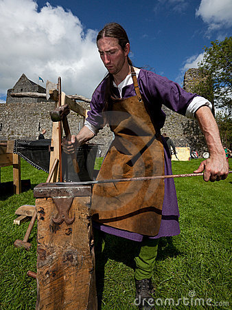 Charlie Gallagher  displays blacksmithing Editorial Image