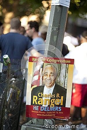 Charlie Rangel Election Poster Editorial Image