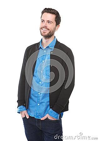 Charmerend bemant u het glimlachen op geïsoleerde witte achtergrond