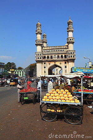 Charminar and market carts Editorial Stock Image