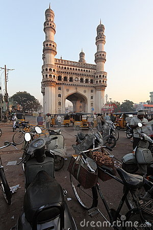 Charminar and motorbikes Editorial Stock Photo