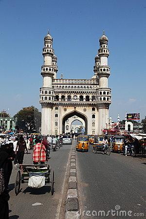 Charminar and Traffic, India Editorial Stock Image