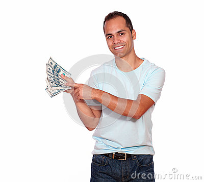 Charming adult man showing you cash money