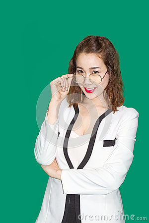 Free Charming Asian Business Lady With Glasses Royalty Free Stock Image - 74460096