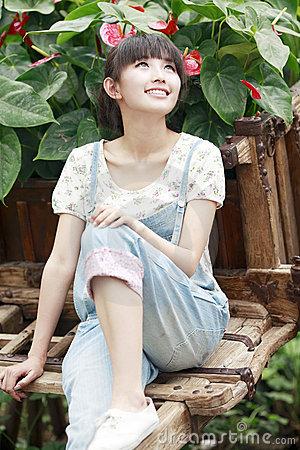 Charming Asian girl outdoor