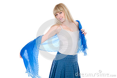 Charming blonde with an open blue scarf