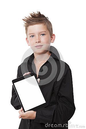 Charming boy showing tablet.