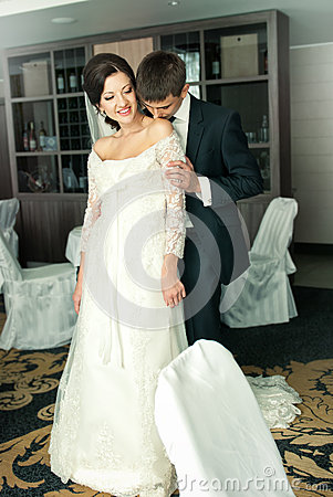 Charming bride and groom on their wedding