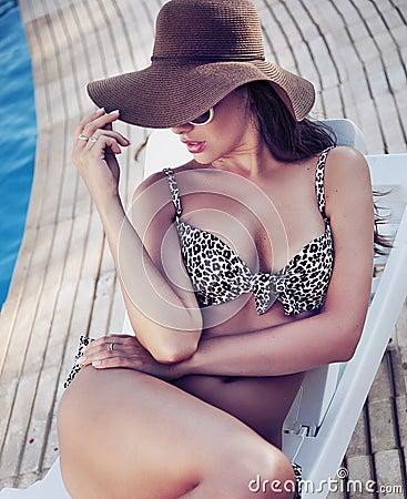 Charming brunette relaxing