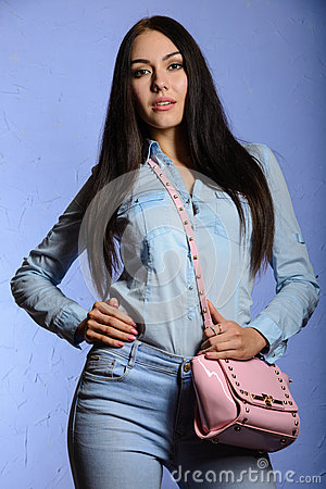 Free Charming Brunette With Long Hair Holding A Pink Handbag Royalty Free Stock Photography - 77071087