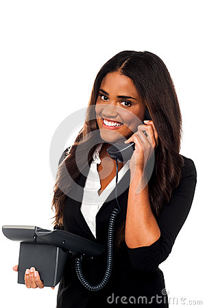 Charming businesswoman attending client s call