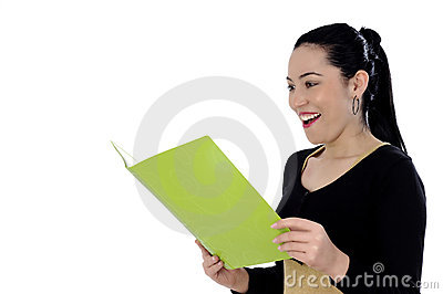 Charming businesswoman holding a folder