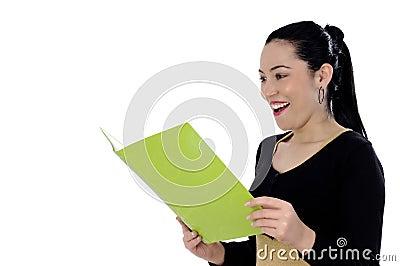 Charming businesswoman holding a folder