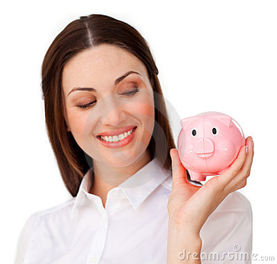 Charming  businesswoman showing a piggybank