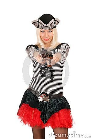Charming girl with guns