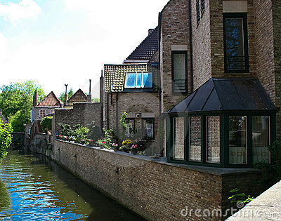 Charming houses on Canals in old Bruges, Belgium