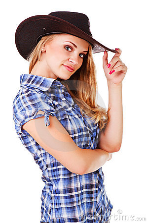 Charming lady in cowboy hat