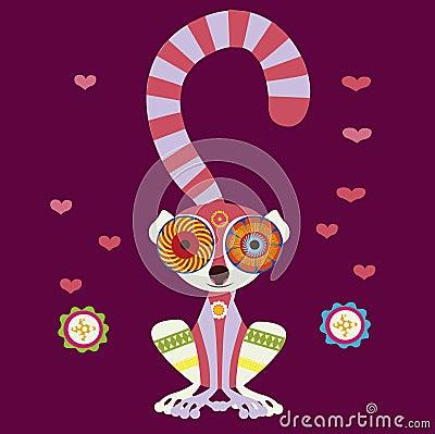 Charming lemur in love
