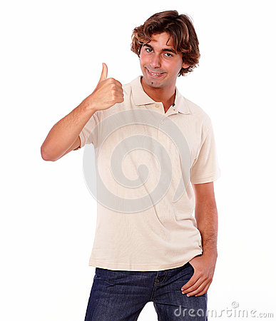 Charming man showing positive sign with fingers