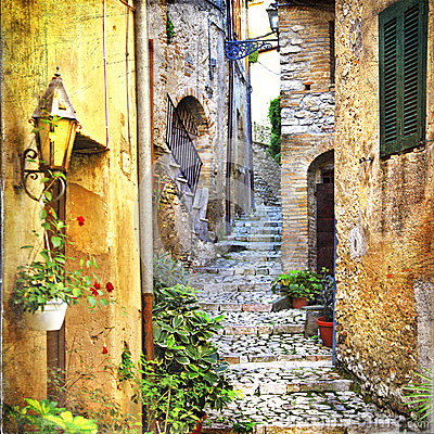 Free Charming Old Streets Of Mediterranean Villages Stock Photo - 45886890