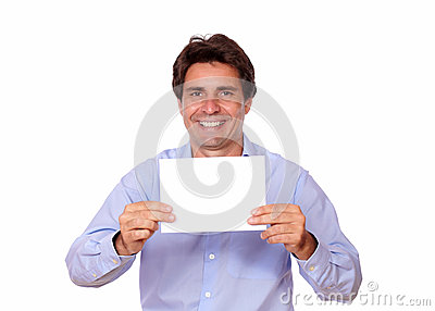 Charming positive man holding a blank card