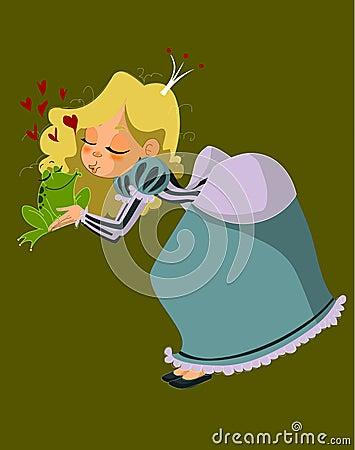 Charming princess and frog