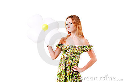 Charming smile girl with flower