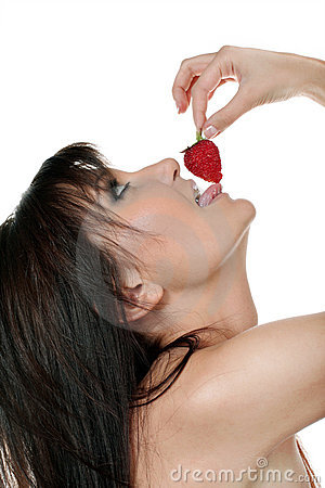 Charming woman with berry