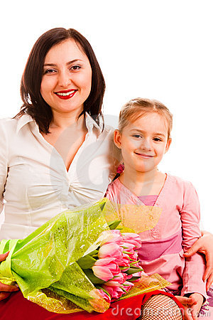 Charming woman with daughter