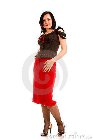 Charming  woman in  red skirt