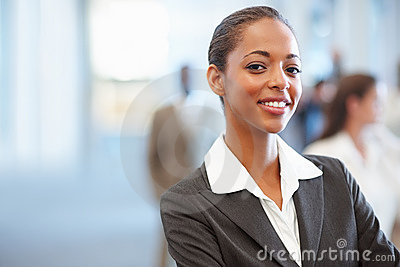 Charming young African American business woman