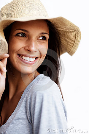 Charming young female wearing straw hat