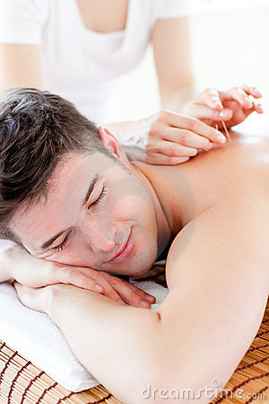 Free Charming Young Man In An Acupuncture Therapy Royalty Free Stock Images - 15428119