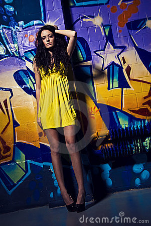 Charming young model and the graffity
