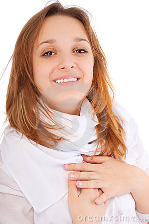 Charming young woman smiles
