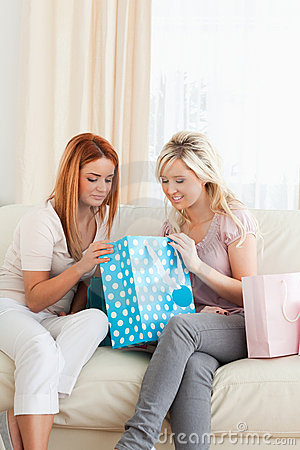 Charming young Women with shopping bags
