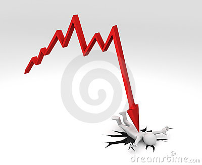 Chart crashing down on Person