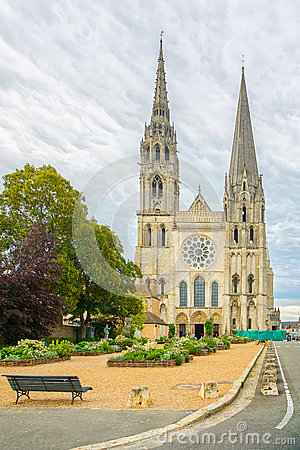 Chartres cathedral church medieval landmark front view, France