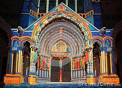 Chartres illumination Editorial Photo