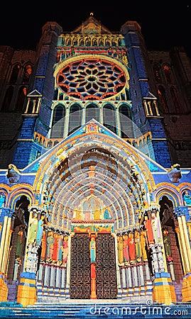 Chartres iluminacja Obraz Editorial