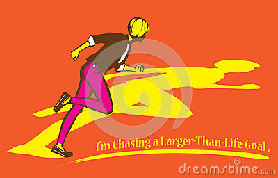 Chasing a Larger Than Life Goal Illustration