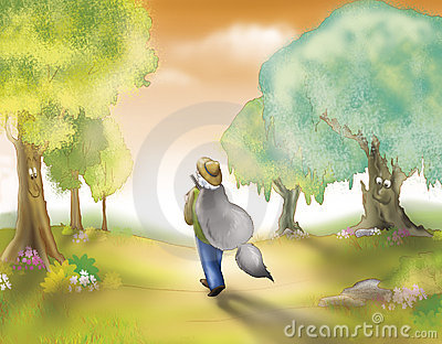 Chasseur avec la fourrure de loup