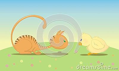 Chat avec l oiseau