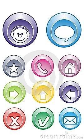Chat Buttons, Contact, Email, Home, arrows