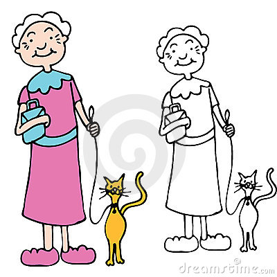 Chat de marche de femme aînée sur la laisse