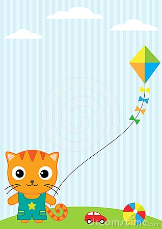 Chat et cerf-volant