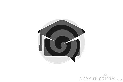 Chat, Graduation Cap Logo Designs Inspiration Isolated on White Background. Stock Photo